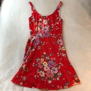 Mini Floral Red Dress